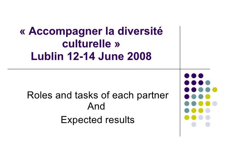 Roles and tasks of each partner and expected results