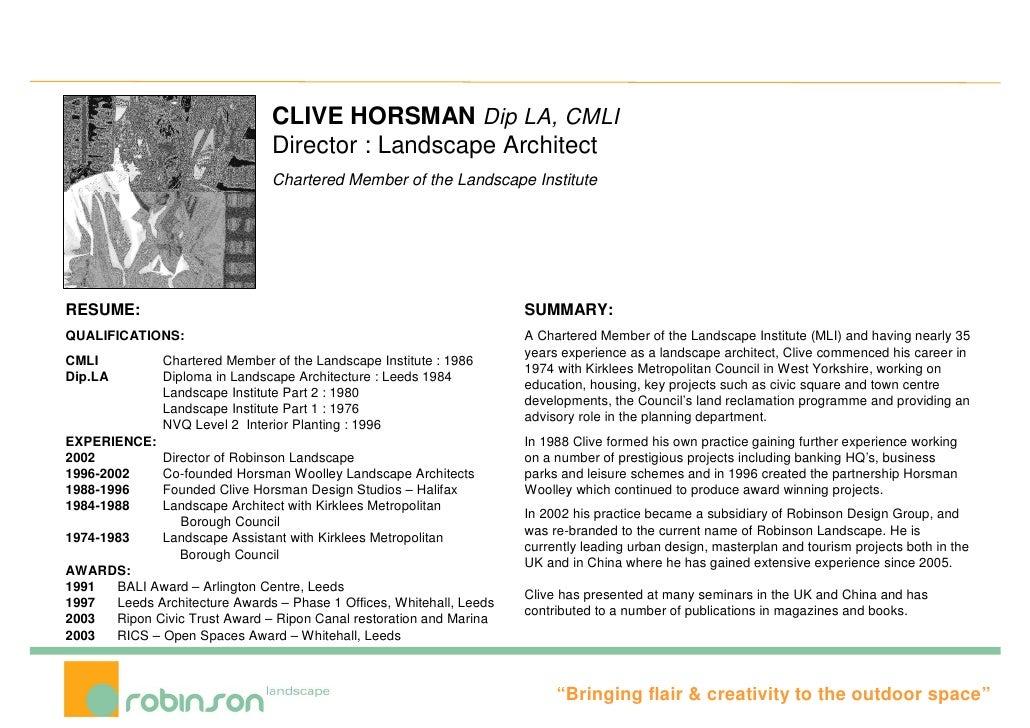 Landscape architecture resume
