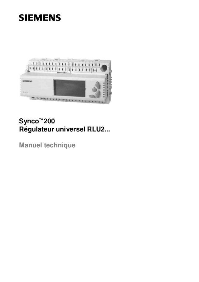 Synco 200 Régulateur universel RLU2... Manuel technique