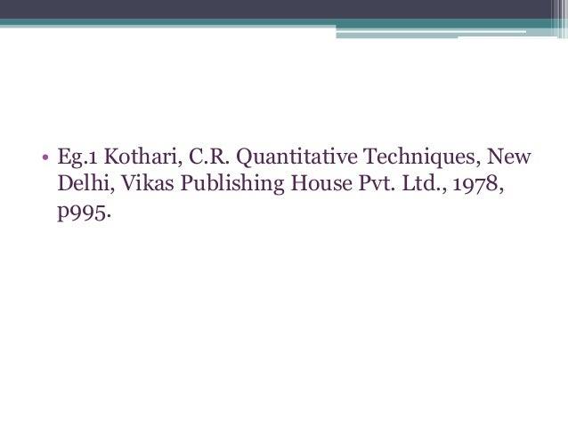 Mechanics of writing a research report