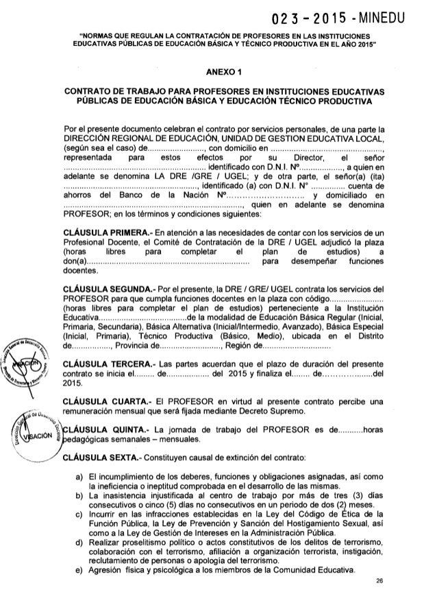 Norma t cnica para contrato docente 2015 minedu for Maestros en el extranjero