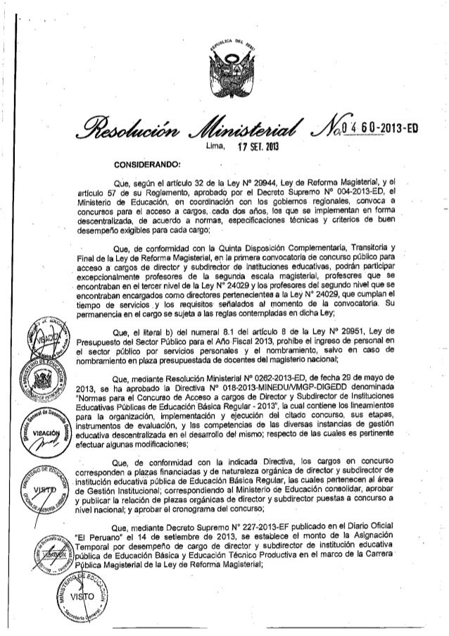 RM.0460- 2013-ED   Normas para el concurso de acceso al cargo de Director y Subdirector de Instituciones Educativas Públic...