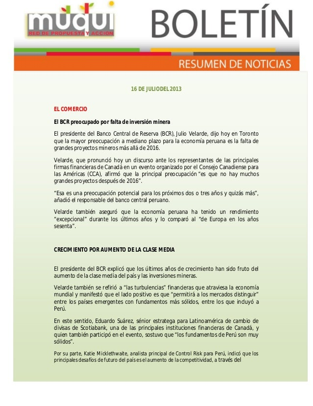 RESUMEN INFORMATIVO: GLENCORE OFICIALIZA VENTA DE PROYECTO LAS BAMBAS (16/07/13)