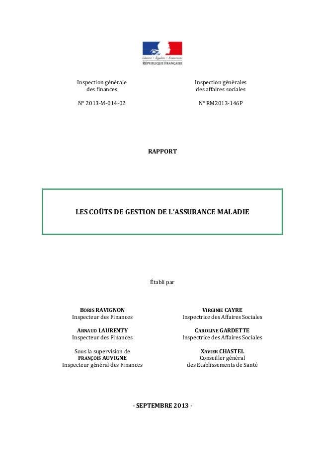 Inspectiongénérale desfinances  Inspectiongénérales desaffairessociales  N°2013‐M‐014‐02 N°RM2013‐146P...