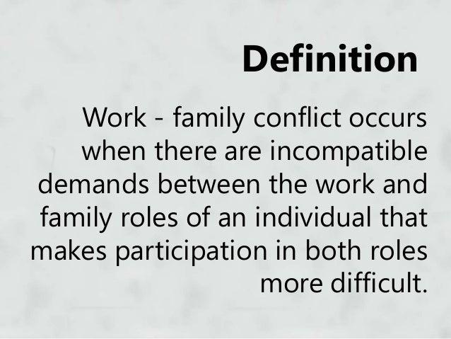 work family conflict Pengertian work family conflict adalah - howard (2008) mengemukakan work family conflict terjadi ketika ada ketidak sesuaian antara peran yang satu dengan peran lainnya (inter-role conflict) dimana terdapat tekanan yang berbeda antara peran di.