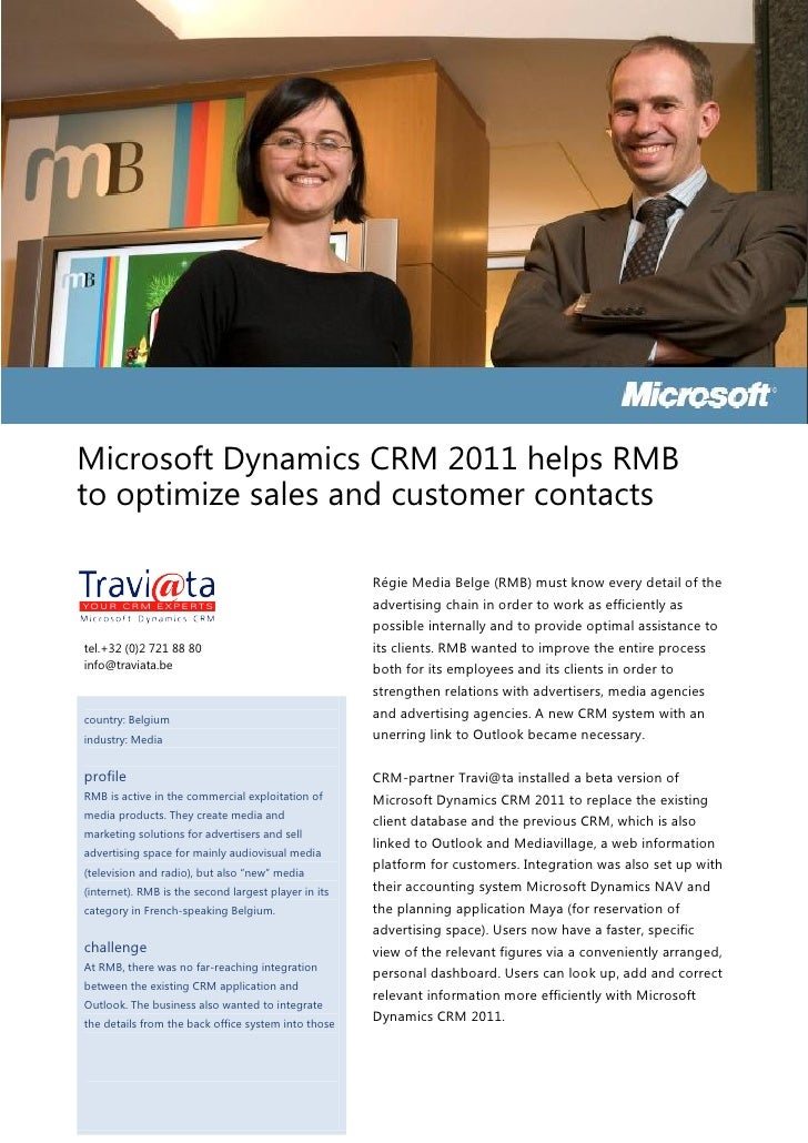 Microsoft Dynamics CRM 2011 helps RMBto optimize sales and customer contacts                                              ...