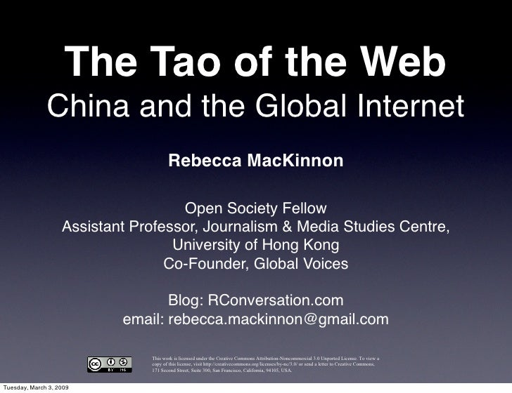 The Tao of the Web               China and the Global Internet                                       Rebecca MacKinnon    ...