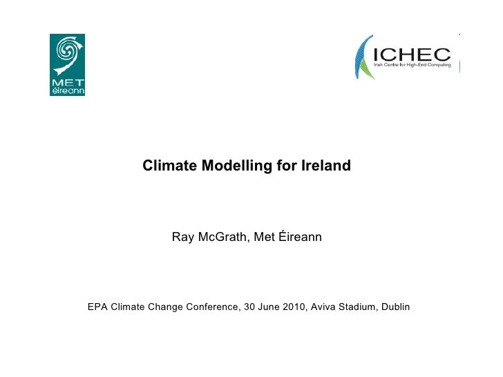 Climate Modelling for Ireland   Ray McGrath, Met Éireann  EPA Climate Change Conference, 30 June 2010, Aviva Stadium, Dublin