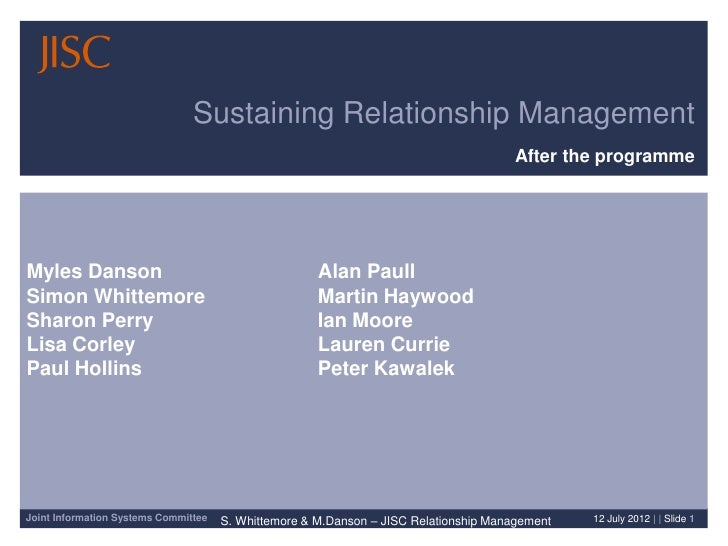Sustaining Relationship Management                                                                                       A...