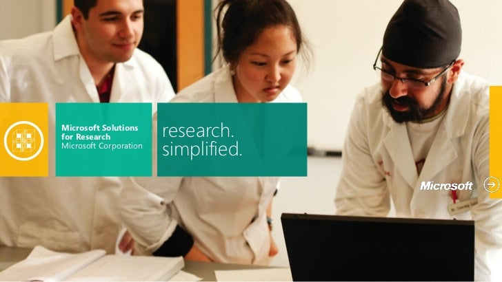 Microsoft Solutionsfor Research            research.Microsoft Corporation                        simplified.