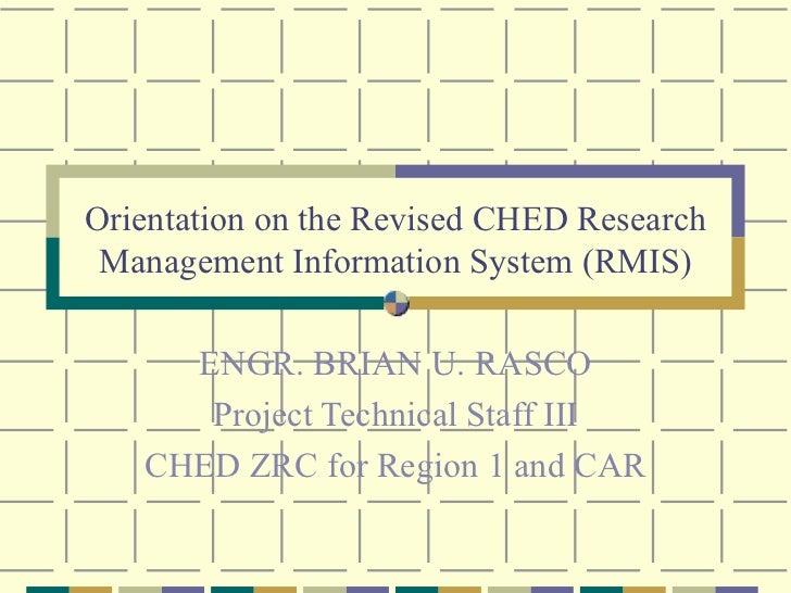 CHED RMIS Orientation