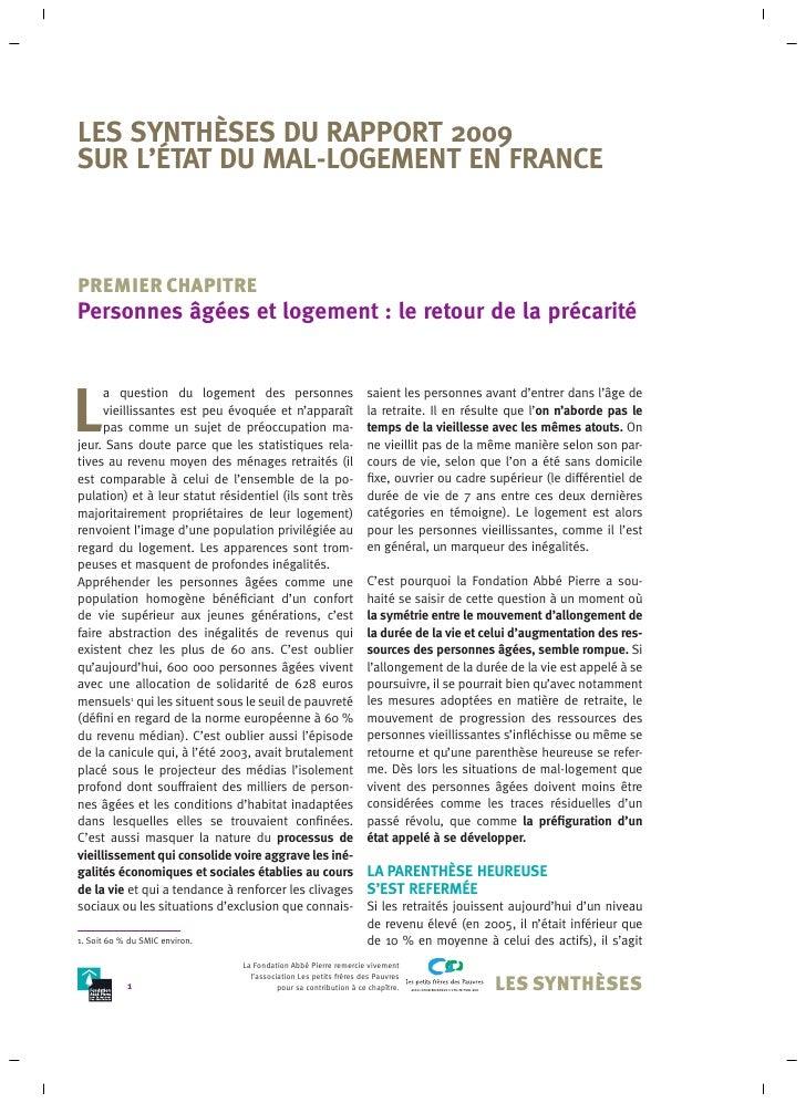 LES SYNTHÈSES DU RAPPORT 2009 SUR L'ÉTAT DU MAL-LOGEMENT EN FRANCE    PREMIER CHAPITRE Personnes âgées et logement : le re...