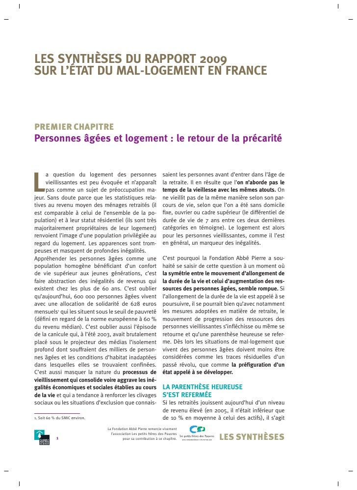 Rapport mal logement 09 Synthese