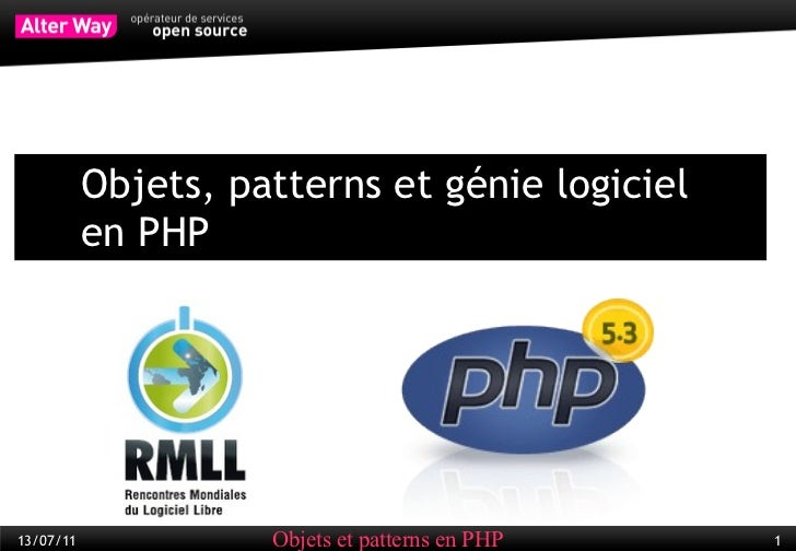 <ul><li>Objets, patterns et génie logiciel  en PHP </li></ul>