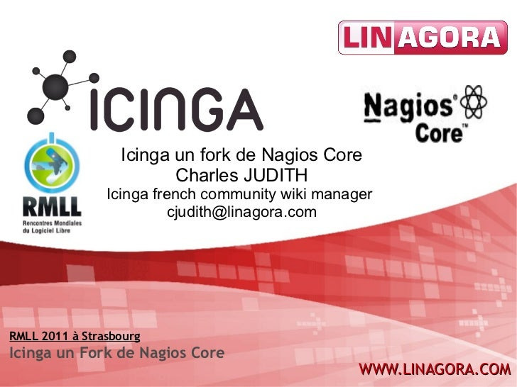 Icinga un fork de Nagios Core Charles JUDITH Icinga french community wiki manager  [email_address] RMLL 2011 à Strasbourg ...