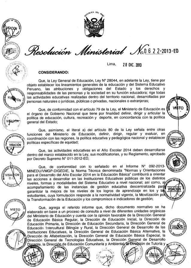 """""""Normas y Orientaciones para el desarrollo del Año Escolar 2014 en Educación Básica"""""""