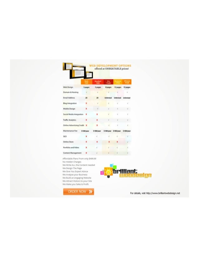 Pricing Packages Offered by Brilliantwebdesign.net