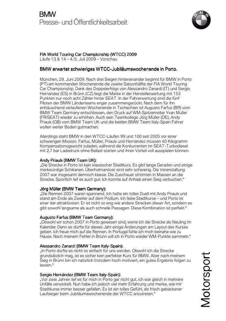 BMWPresse-Presse- und Öffentlichkeitsarbeit                                           2009FIA World Touring Car Championsh...