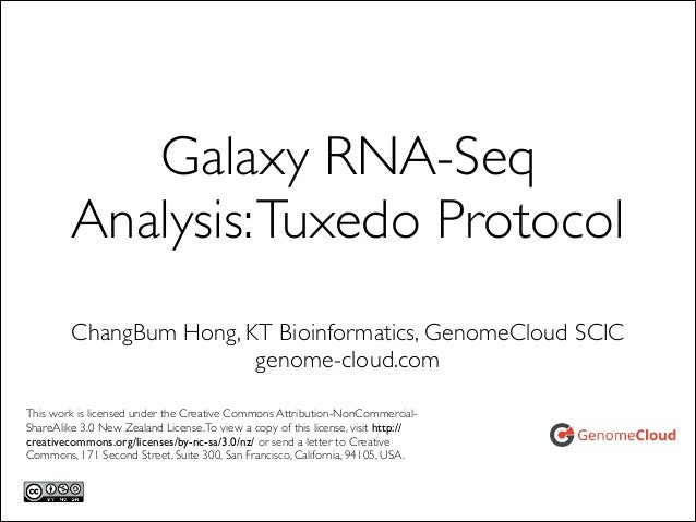 Galaxy RNA-Seq Analysis: Tuxedo Protocol ChangBum Hong, KT Bioinformatics, GenomeCloud SCIC	  genome-cloud.com This work i...
