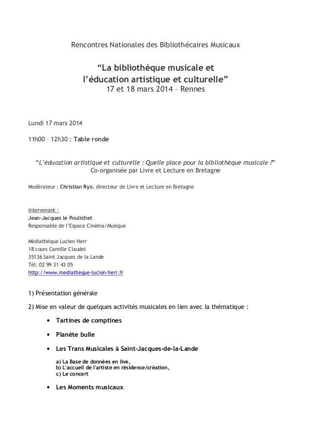 """Rencontres Nationales des Bibliothécaires Musicaux """"La bibliothèque musicale et l'éducation artistique et culturelle"""" 17 e..."""