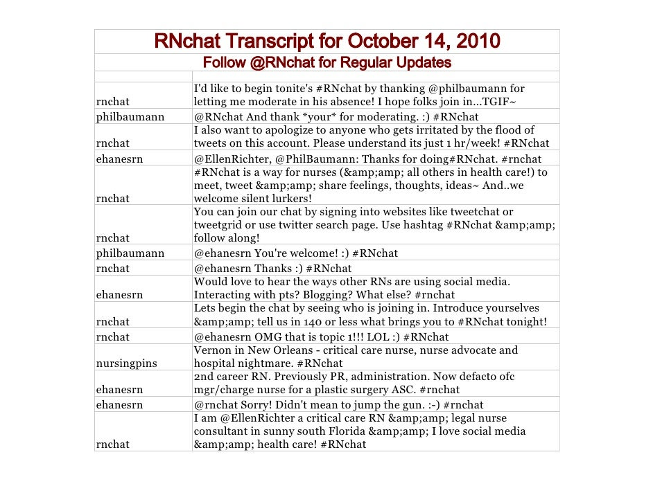RNchat Transcript October 14, 2010