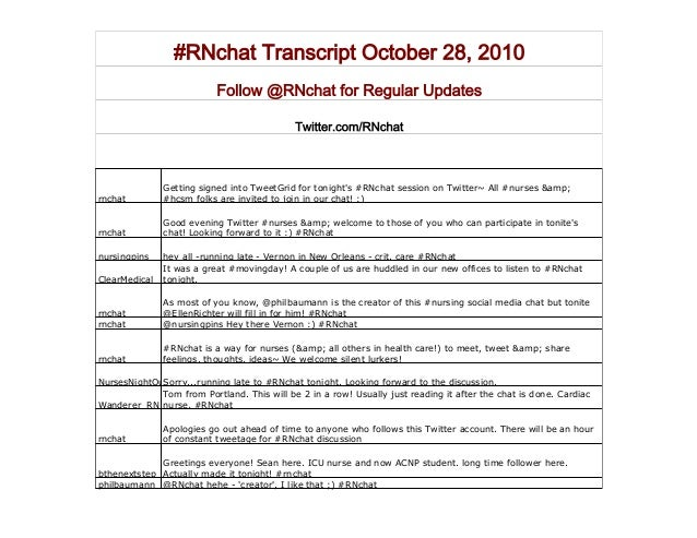 #RNchat Transcript October 28, 2010 Follow @RNchat for Regular Updates Twitter.com/RNchat rnchat Getting signed into Tweet...