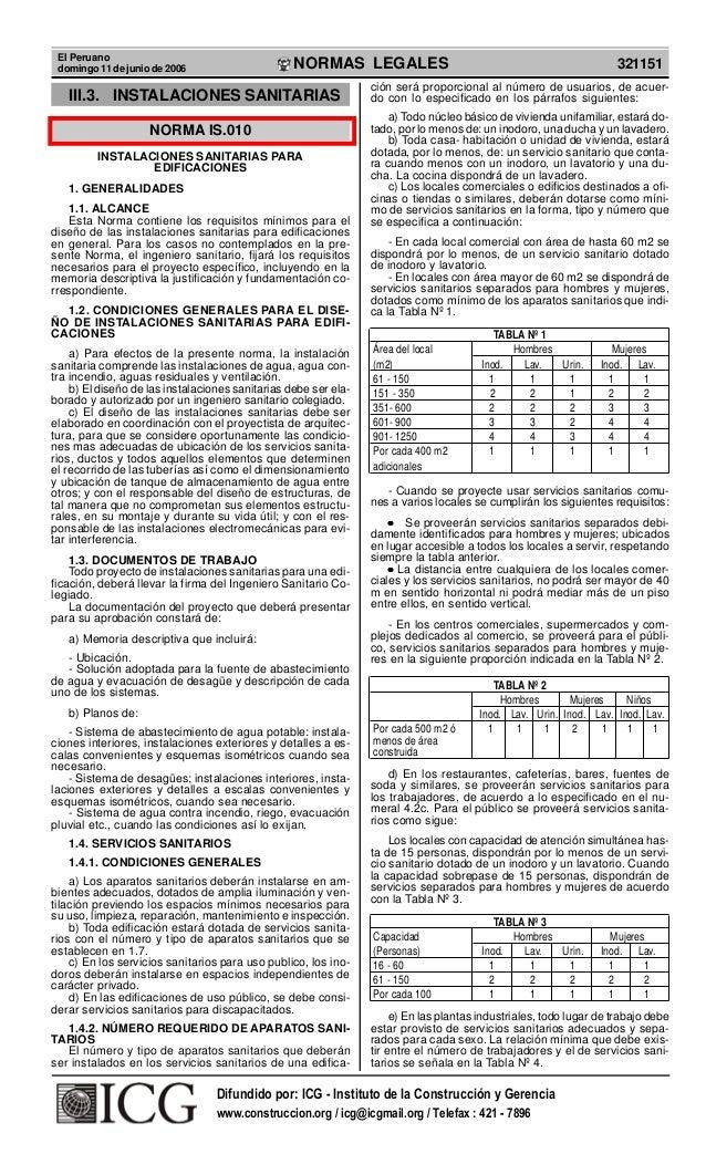 El Peruano domingo 11 de junio de 2006 321151NORMAS LEGALES R EPUBLICA DEL PERU III.3. INSTALACIONES SANITARIAS NORMA IS.0...