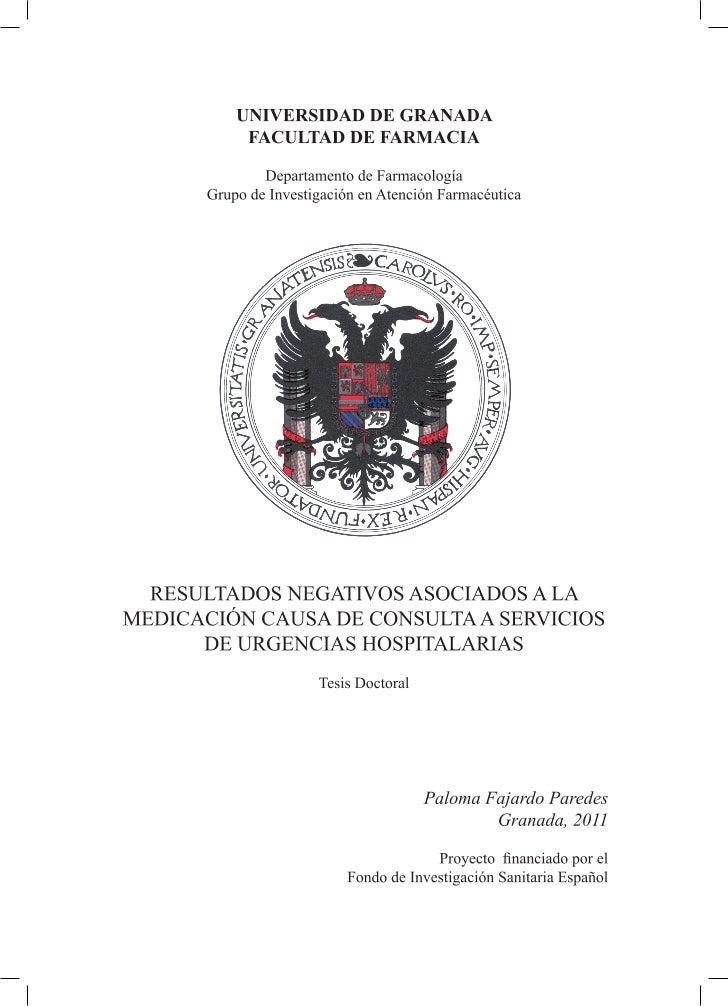 RESULTADOS NEGATIVOS ASOCIADOS A LAMEDICACIÓN CAUSA DE CONSULTA A SERVICIOS DE         URGENCIAS HOSPITALARIAS         Mem...