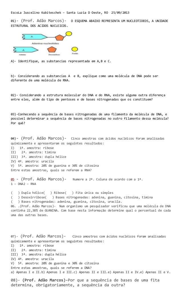 EscoLa Juscelino Kubiteschek – Santa Luzia D Oeste, RO 25/09/2013 01)- (Prof. Adão Marcos)- O ESQUEMA ABAIXO REPRESENTA UM...