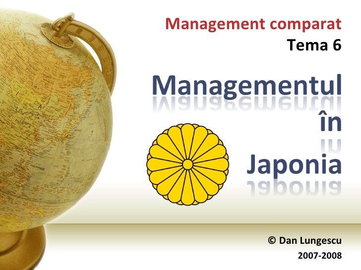 © Dan Lungescu 2007-2008 Management comparat Tema 6