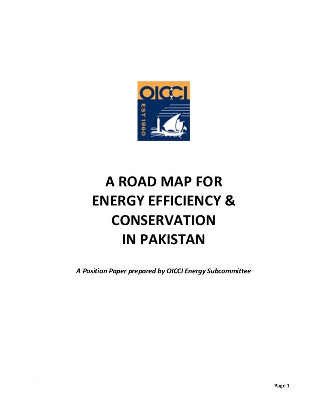 Page 1                       A ROAD MAP FOR   ENERGY EFFICIENCY &  CONSERVATION   IN PAKISTAN      A Position Paper prepar...