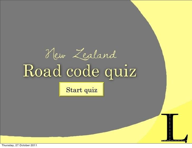 Road code quiz kristy