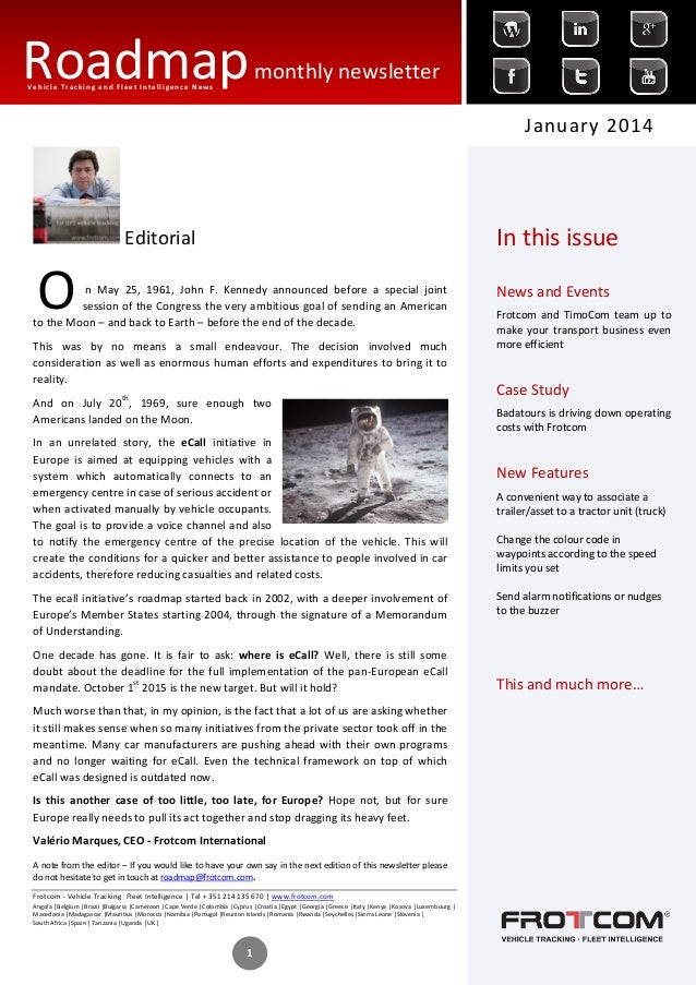 Roadmap monthly newsletter Vehicle Tracking and Fleet Intelligence News  January 2014  In this issue  Editorial  O  n May ...