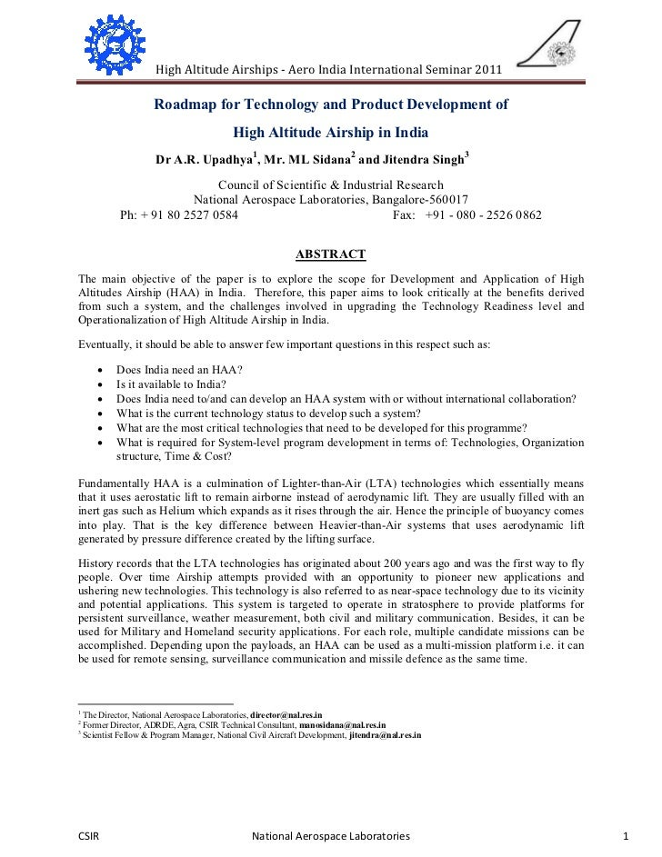 High Altitude Airships - Aero India International Seminar 2011                       Roadmap for Technology and Product De...