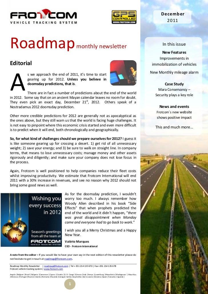 Roadmap monthly newsletter   december 2011