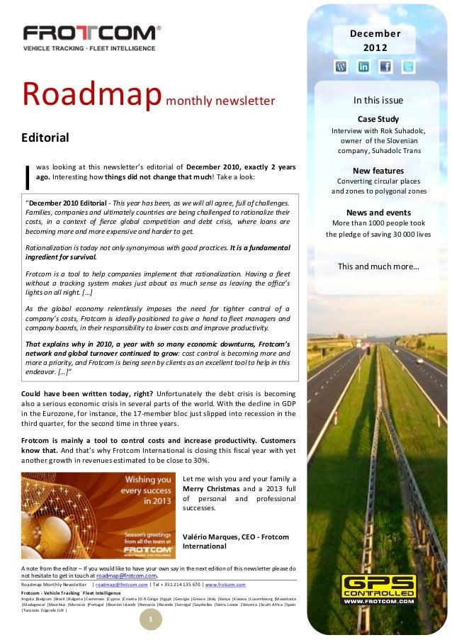 Roadmap monthly newsletter - December 2012