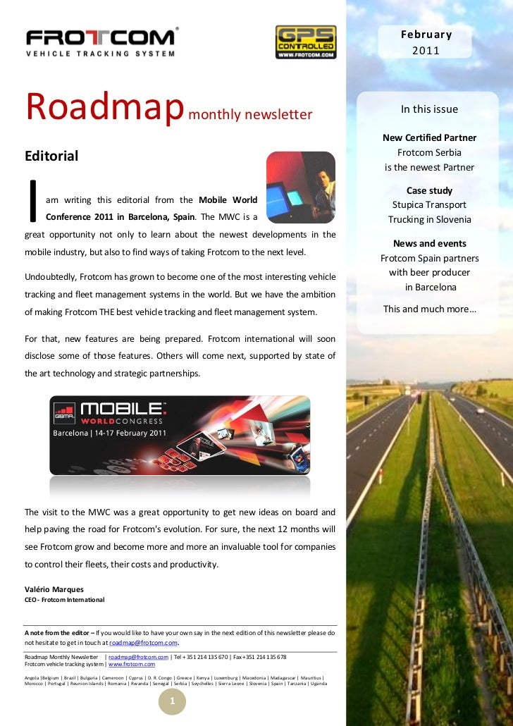 Roadmap monthly newsletter - February 2011