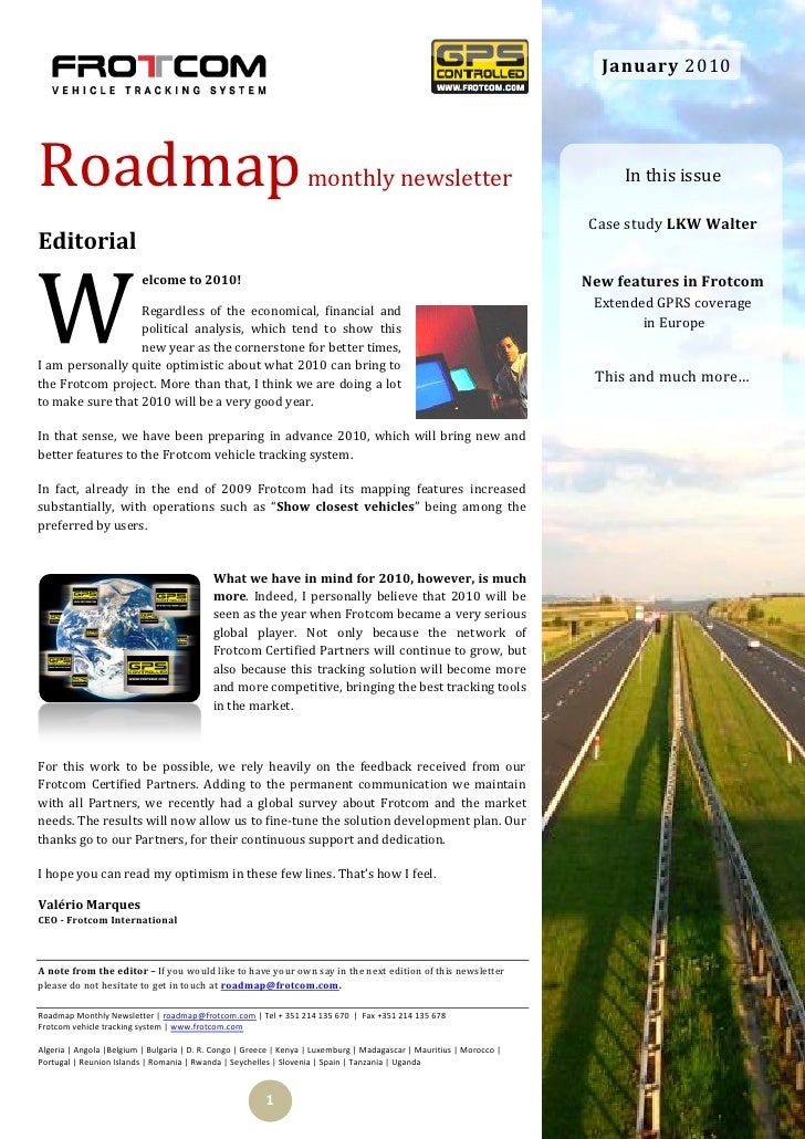 January 2010     Roadmap                                                            monthly newsletter                    ...