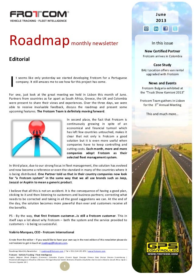 Roadmap Monthly Newsletter | roadmap@frotcom.com | Tel + 351 214 135 670 | www.frotcom.com Frotcom - Vehicle Tracking . Fl...