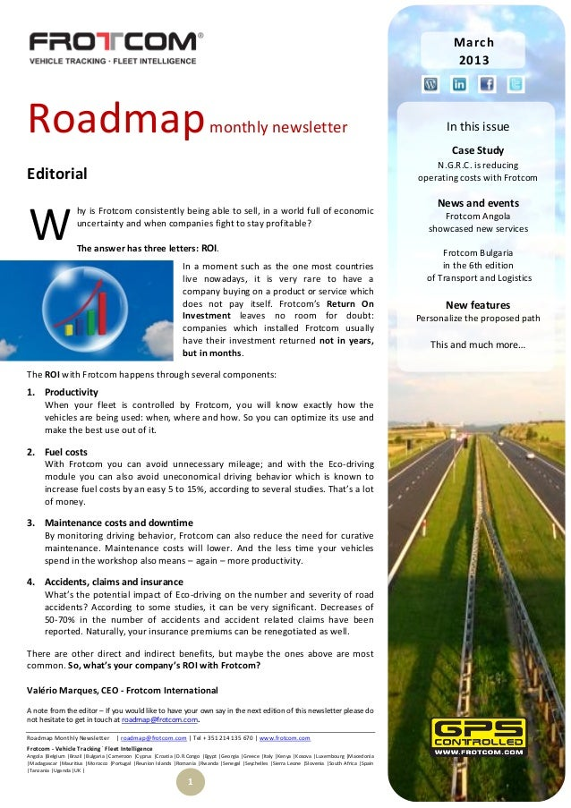 Roadmap monthly newsletter - March 2013