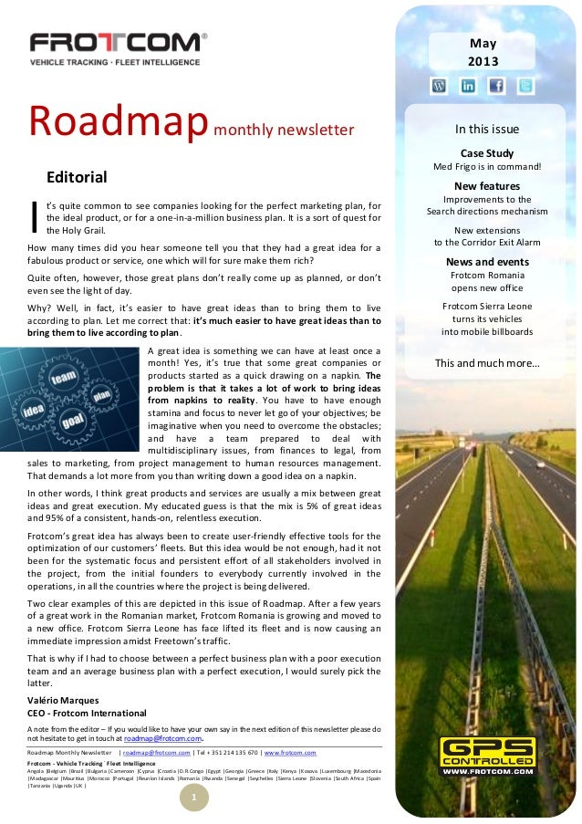 Roadmap Monthly Newsletter | roadmap@frotcom.com | Tel + 351 214 135 670 | www.frotcom.comFrotcom - Vehicle Tracking.Fleet...