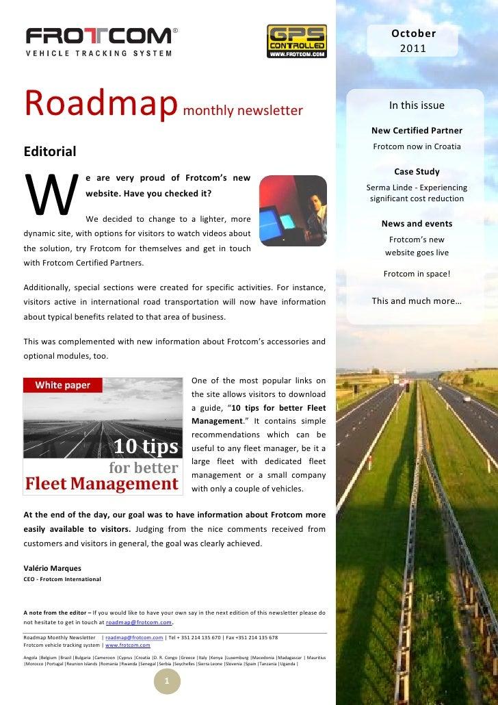 Roadmap monthly newsletter - October 2011