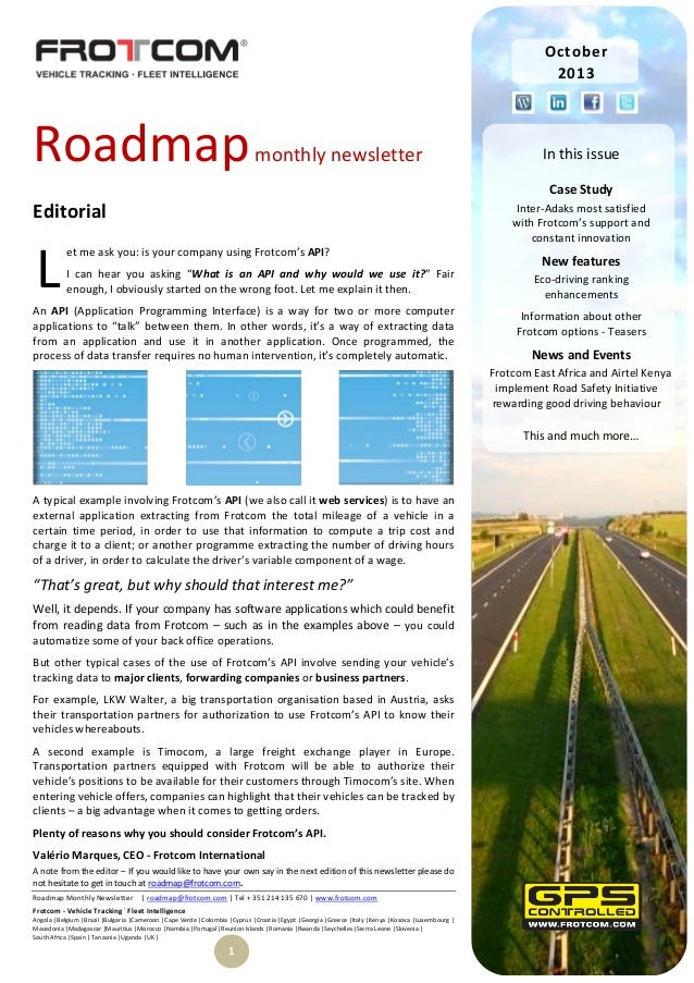 October 2013  Roadmap  monthly newsletter  In this issue Case Study  Editorial  L  Inter-Adaks most satisfied with Frotcom...