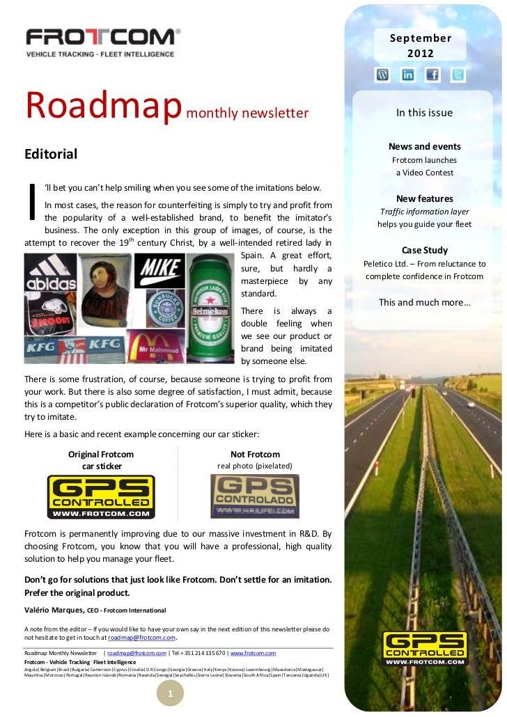 Roadmap monthly newsletter  - September 2012