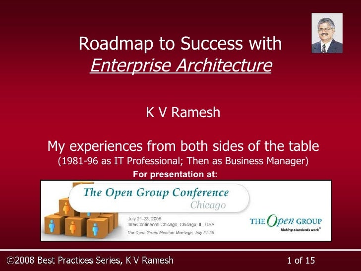 Roadmap to Success with Enterprise Architecture K V Ramesh My experiences from both sides of the table (1981-96 as IT Prof...