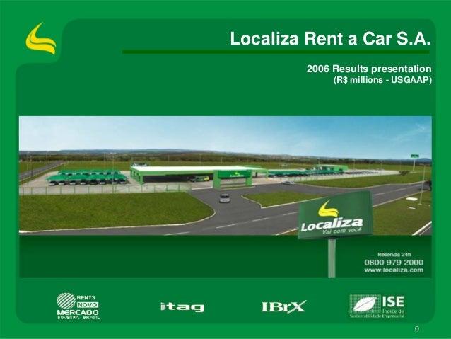 0 2006 Results presentation (R$ millions - USGAAP) Localiza Rent a Car S.A.