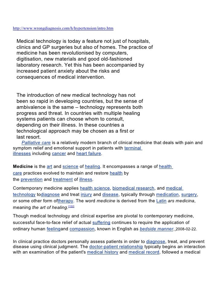 http://www.wrongdiagnosis.com/h/hypertension/intro.htm    Medical technology is today a feature not just of hospitals,  cl...