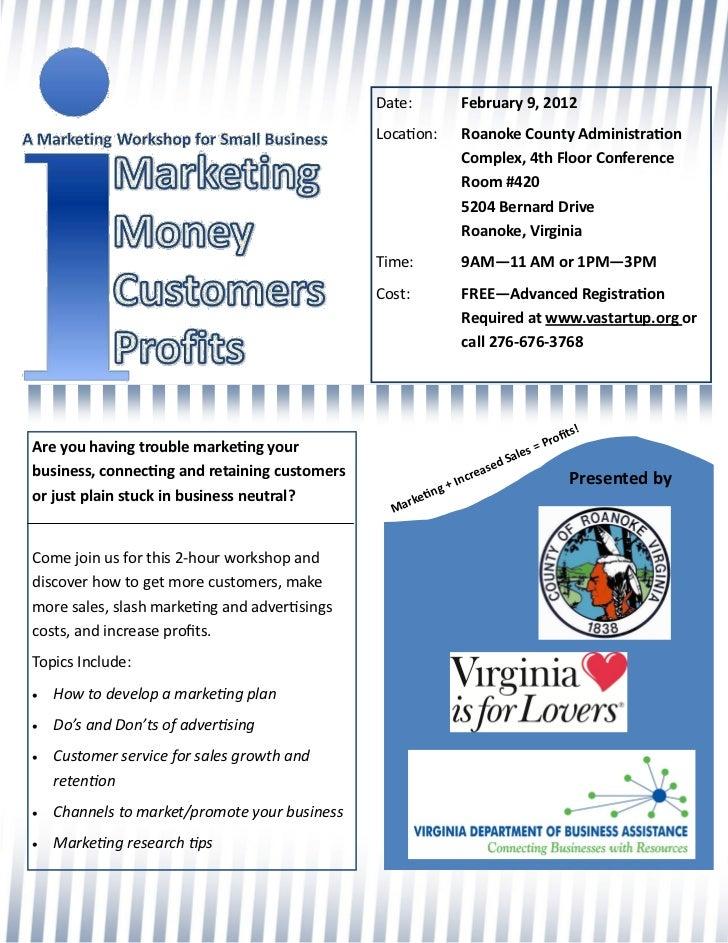 Roanoke Marketing 101 Workshop flyer, February 9, 2012