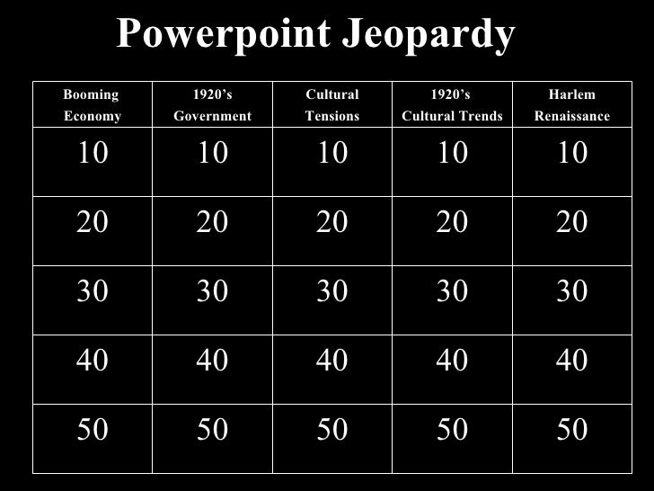 Powerpoint Jeopardy Booming  Economy 1920's Government Cultural Tensions 1920's  Cultural Trends Harlem Renaissance 10 10 ...