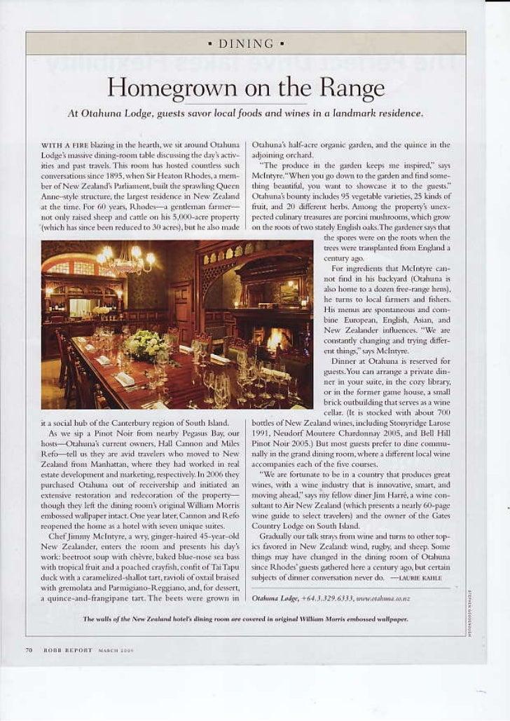 Robb Report March 2009 - Otahuna Luxury Lodge New Zealand